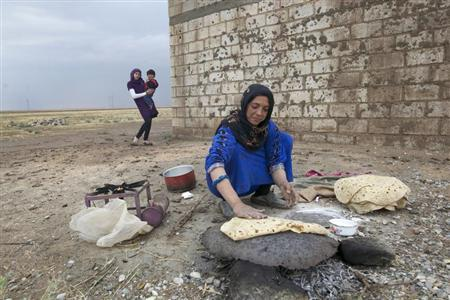 A woman makes bread near Al-Yaroubia crossing in the province of Hasakah November 10, 2013.