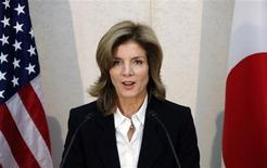 Newly appointed U.S. ambassador to Japan Caroline Kennedy gives a statement shortly after her arrival in Japan at Narita International Airport in Narita, suburban Tokyo November 15, 2013. REUTERS/Koji Sasahara/Pool