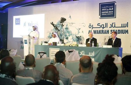 2022 FIFA World Cup Qatar Supreme Committee Secretary-General Hassan Al-Thawadi (L) speaks during a news conference to announce the start of work on Al-Wakrah Stadium in Doha November 16, 2013. Al Wakrah will serve as a host city for a 2022 FIFA World Cup stadium and precinct. REUTERS/Mohammed Dabbous