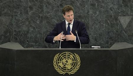 Deputy Prime Minister of the United Kingdom Nick Clegg addresses the 68th United Nations General Assembly at U.N. headquarters in New York, September 27, 2013. REUTERS/Mary Altaffer/Pool
