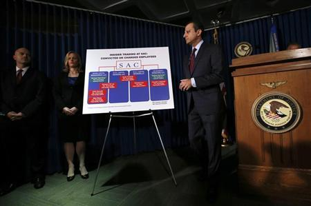 United States Attorney Preet Bharara (R) speaks during a news conference in New York, July 25, 2013. REUTERS/Mike Segar