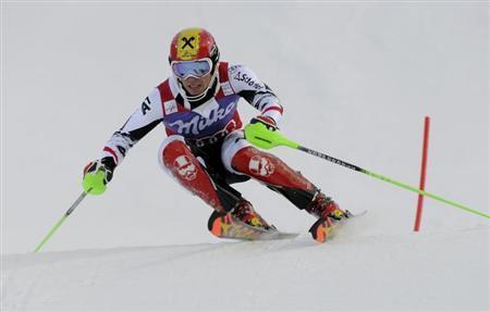 Austria's Marcel Hirscher competes during the first run of the men's slalom of the FIS Alpine Ski World Cup in Levi, Finnish Lapland, November 17, 2013. REUTERS/Markku Ulander/Lehtikuva