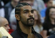 English boxer David Haye stands on the sideline before the Minnesota Vikings met the Pittsburgh Steelers in their NFL football game at Wembley Stadium in London, September 29, 2013. REUTERS/Suzanne Plunkett