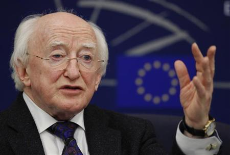 Irish President Michael D. Higgins addresses journalists during a press briefing at the European Parliament in Strasbourg, April 17, 2013. REUTERS/Vincent Kessler