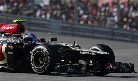 Lotus Formula One driver Romain Grosjean of France drives during the Austin F1 Grand Prix at the Circuit of the Americas in Austin November 17, 2013. REUTERS/Adrees Latif