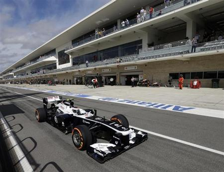Williams Formula One driver Valtteri Bottas of Finland drives out of the pit lane during the qualifying session of the Austin F1 Grand Prix at the Circuit of the Americas in Austin November 16, 2013. REUTERS/Pool