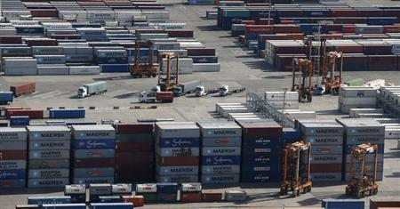 A view of a cargo terminal at the Port of Barcelona, October 23, 2013. REUTERS/Albert Gea