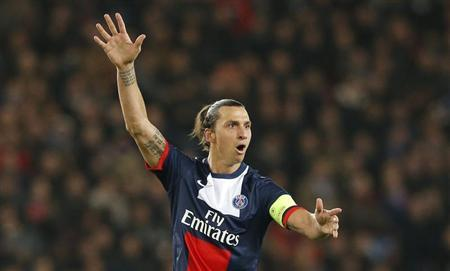 Paris St-Germain's Zlatan Ibrahimovic reacts during their Champions League soccer match against Anderlecht at the Parc des Princes Stadium in Paris November 5, 2013. REUTERS/Gonzalo Fuentes
