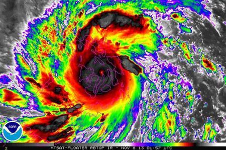 Typhoon Haiyan is pictured in this NOAA satellite handout image taken November 8, 2013 at 01:57 UTC. REUTERS/NOAA/Handout via Reuters