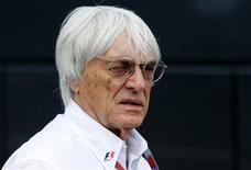 Formula One commercial supremo Bernie Ecclestone looks on at the start of the qualifying session of the Belgian F1 Grand Prix in Spa Francorchamps September 1, 2012. REUTERS/Francois Lenoir