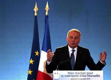 French Prime Minister Jean-Marc Ayrault delivers a speech during a one day visit in Marseille, November 8, 2013. REUTERS/Jean-Paul Pelissier