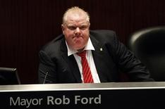 Toronto Mayor Rob Ford shown during a special council meeting at City Hall in Toronto November 18, 2013. REUTERS/Aaron Harris