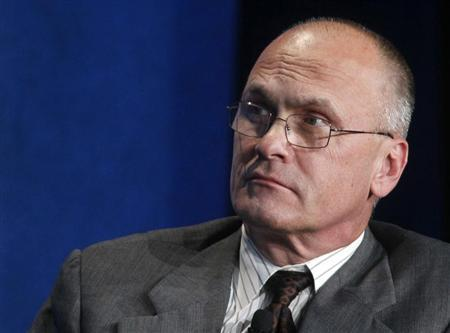 Andrew Puzder, CEO of CKE Restaurants, takes part in a panel discussion titled ''Understanding the Post-Recession Consumer'' at the Milken Institute Global Conference in Beverly Hills, California April 30, 2012. REUTERS/Fred Prouser
