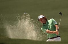 Brandt Snedeker of the U.S. hits from a sand trap on the second hole during third round play in the 2013 Masters golf tournament at the Augusta National Golf Club in Augusta, Georgia, April 13, 2013. REUTERS/Mark Blinch