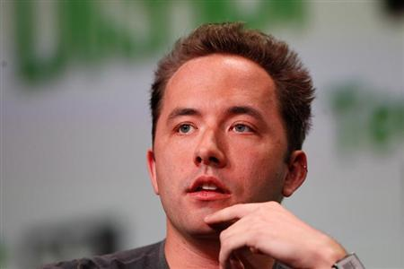 Drew Houston, CEO and Co-Founder of Dropbox, speaks on stage during a fireside chat session at TechCrunch Disrupt SF 2013 in San Francisco, California September 9, 2013. REUTERS/Stephen Lam