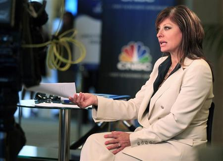 Television journalist Maria Bartiromo, anchor of CNBC's ''Closing Bell with Maria Bartiromo,'' is shown on location at the Milken Institute Global Conference in Beverly Hills, California April 29, 2013. REUTERS/Fred Prouser