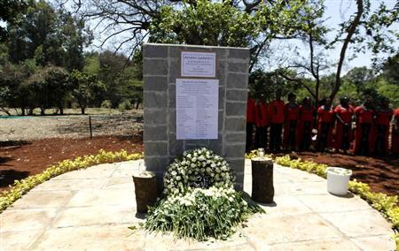 A memorial plaque stands at the Amani Garden within the Karura forest for the victims killed during the Westgate shopping mall attack one month earlier in Kenya's capital Nairobi, October 21, 2013. REUTERS/Thomas Mukoya