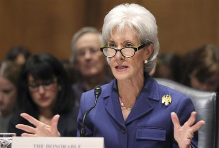 U.S. Health and Human Services Secretary Kathleen Sebelius testifies before a Senate Finance Committee hearing on ''Health Insurance Exchanges: An Update from the Administration'' and the issues surrounding the Obama administration health plan commonly referred to as ''Obamacare,'' on Capitol Hill in Washington November 6, 2013. REUTERS/Jim Bourg