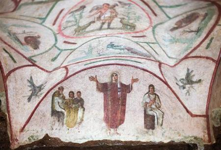 A fresco is pictured inside the catacomb of Priscilla in Rome November 19, 2013. REUTERS/Max Rossi