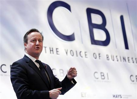 Britain's Prime Minister David Cameron speaks at the annual Confederation of British Industry (CBI) conference in central London November 4, 2013 file photo. REUTERS/Olivia Harris