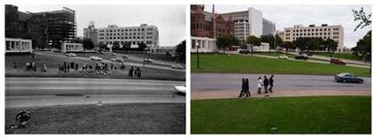 A combination shows (L) flower arrangements and spectators lining the street along Elm Street during a reconstruction of the Dealey Plaza crime scene by the United States Secret Service in this undated photograph taken in Dallas, Texas in 1963 and (R) visitors to Dealey Plaza walking along Elm and Commerce Streets in Dallas, Texas on November 10, 2013. REUTERS/Dallas Police Department/Dallas Municipal Archives/University of North Texas/Handout
