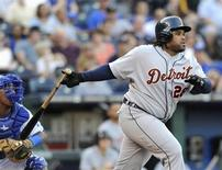 Detroit Tigers' Prince Fielder hits an RBI single against Kansas City Royals starting pitcher Danny Duffy in the first inning of their MLB American League baseball game in Kansas City, Missouri September 7, 2013. REUTERS/Dave Kaup
