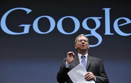 Google Executive Chairman Eric Schmidt speaks at a promotional event for the Nexus 7 tablet in Tokyo September 25, 2012. Google Inc said it began selling its Nexus 7 tablet in Japan on Tuesday, with a starting price of 19,800 yen ($250). REUTERS/Kim Kyung-Hoon