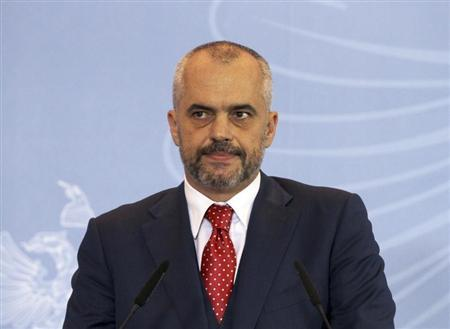 Albania's Prime Minister Edi Rama holds a news conference on the dismantling of Syria's chemical weapons in Tirana November 15, 2013. REUTERS/Arben Celi