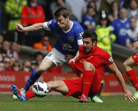 Everton's Seamus Coleman (L) challenges Liverpool's Jose Enrique during their English Premier League soccer match at Anfield in Liverpool, northern England May 5, 2013. REUTERS/Phil Noble