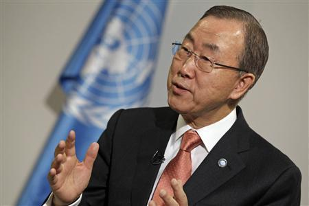 U.N. Secretary General Ban Ki-moon gestures during an interview during the 19th conference of the United Nations Framework Convention on Climate Change (COP19) in Warsaw November 21, 2013. REUTERS/Kacper Pempel