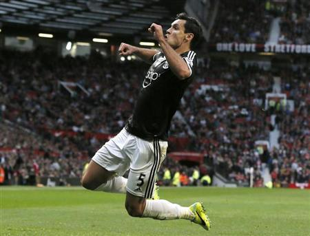 Southampton's Dejan Lovren celebrates after scoring a goal against Manchester United during their English Premier League soccer match at Old Trafford in Manchester, northern England October 19, 2013. REUTERS/Phil Noble