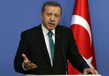 Turkey's Prime Minister Tayyip Erdogan addresses the media in Ankara November 13, 2013. REUTERS/Umit Bektas