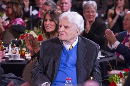 Billy Graham is pictured during a celebration for his 95th birthday in Asheville, North Carolina, in this November 7, 2013 handout photo provided by the Billy Graham Evangelistic Association. REUTERS/Billy Graham Evangelistic Association/Handout via Reuters