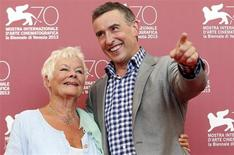 "Actors Judi Dench (L) and Steve Coogan (R) pose during a photocall for the movie ""Philomena"", directed by Stephen Frears, during the 70th Venice Film Festival in Venice August 31, 2013. REUTERS/Alessandro Bianchi"