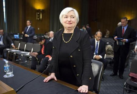 U.S. Federal Reserve Vice Chair Janet Yellen stands after testifying during a confirmation hearing on her nomination to be the next chairman of the U.S. Federal Reserve before the Senate Banking Committee in Washington November 14, 2013. REUTERS/Joshua Roberts