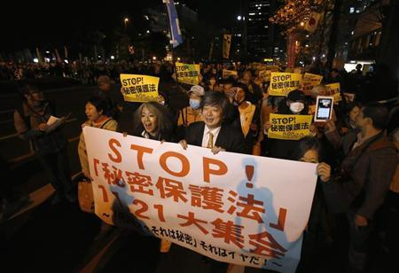 Protesters shout slogans during a march against the government's planned secrecy law, in Tokyo November 21, 2013. REUTERS/Issei Kato