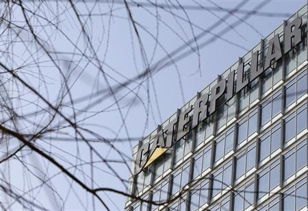 The company logo is seen on top of a building, where Caterpillar (China) Investment Co., Ltd. is located, in Beijing, January 22, 2013. REUTERS/Jason Lee
