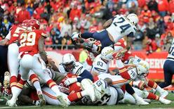 Nov 24, 2013; Kansas City, MO, USA; San Diego Chargers running back Ryan Mathews (24) scores a touchdown during the second half of the game against the Kansas City Chiefs at Arrowhead Stadium. The Chargers won 41-38. Mandatory Credit: Denny Medley-USA TODAY Sports