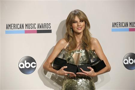 Musician Taylor Swift poses backstage with her awards for artist of the year, favorite country artist - female, favorite country album for ''Red'' and favorite female pop/rock at the 41st American Music Awards in Los Angeles, California November 24, 2013.REUTERS/Mario Anzuoni