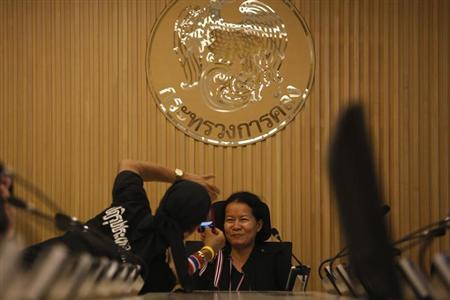 Anti-government protesters take pictures of themselves inside one of the rooms at Thailand's Finance Ministry after occupying it in Bangkok November 25, 2013. REUTERS/Damir Sagolj