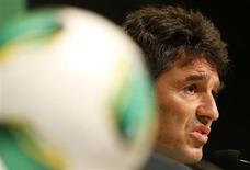 Massimo Busacca, FIFA Head of Refereeing, talks about the implementation of the Goal-line technology (GLT) during a news conference ahead of the FIFA Confederations Cup tournament in Rio de Janeiro June 14, 2013. REUTERS/Sergio Moraes