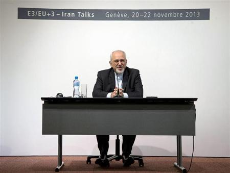 Iranian Foreign Minister Mohammad Javad Zarif speaks to the media about the deal that has been reached between six world powers and Iran at the International Conference Centre of Geneva in Geneva November 24, 2013. REUTERS/Carolyn Kaster/Pool