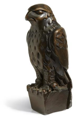 The iconic lead statuette of the Maltese Falcon from the 1941 film of the same name with approx. dimensions: 11 7/8 in x 4 1/2 in x 5 in (30.16 cm x 11.43 cm x 12.7 cm) is pictured in this undated handout photo courtesy of Bonhams. REUTERS/Bonhams/Handout
