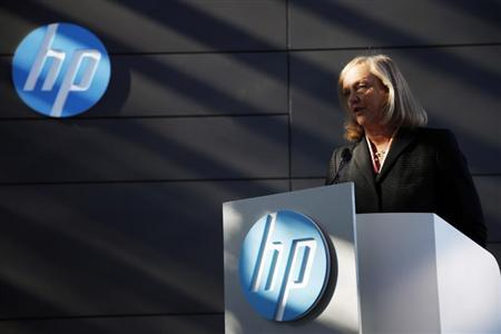 Meg Whitman, chief executive officer and president of Hewlett-Packard, speaks during the grand opening of the company's Executive Briefing Center in Palo Alto, California January 16, 2013. REUTERS/Stephen Lam