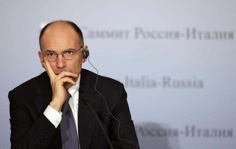 Italy's Prime Minister Enrico Letta looks on during a news conference with Russia's President Vladimir Putin (not pictured) in Trieste, November 26, 2013. REUTERS/Alessandro Garofalo