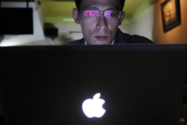 Vietnamese Internet activist Nguyen Lan Thang chats on Facebook at a cafe in Hanoi November 27, 2013. REUTERS/Kham