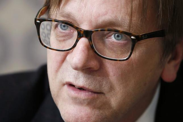 Guy Verhofstadt, former Belgian prime minister and leader of the liberals in the European Parliament, answers reporters' questions during the Reuters Future of the Euro Zone Summit in Brussels February 26, 2013. REUTERS/Francois Lenoir