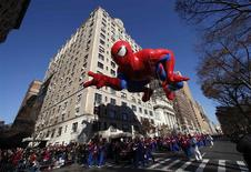 The Spiderman balloon floats down Central Park West during the 86th Macy's Thanksgiving Day Parade in New York in a November 22, 2012 file photo. REUTERS/Gary Hershorn/files