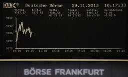Les Bourses européennes étaient en très légère hausse vendredi à la mi-journée, de bonnes statistiques de la zone euro produisant un effet assez limité dans des marchés dont les échanges ne sont guère fournis. A la mi-journée, l'indice CAC 40 gagnait 0,16% et le Dax prenait 0,04%. /Photo prise le 29 novembre 2013/REUTERS/Remote