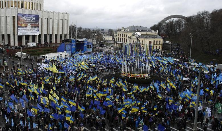 Supporters of Ukrainian President Viktor Yanukovich and the Party of the Regions participate in a demonstration at European Square in central Kiev November 29, 2013. REUTERS/Stoyan Nenov